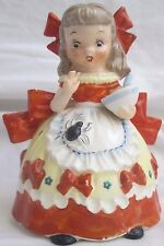 Napco Little Miss Muffet Nursery Rhyme Figurine Ceramic Spider Red Bows Vtg 1956