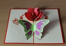 3D Handmade Pop up Butterfly with Flowers Card - All Occasions