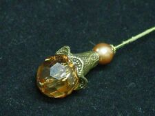 """Victorian Tulip Vintage style 8"""" HATPIN gold-toned with amber colored beads"""