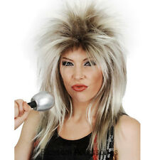 W390 Glam Rock Queen Tina Turner Wig Punk Blonde Spiky Layered 80s Diva Mullet