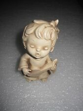 "Vintage WOLIN Resin Singing Angel Figurine w/ Mandolin 4"""