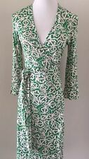 Diane Von Furstenberg Green Silk Wrap Dress, Size 4
