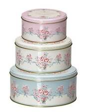 GreenGate Floral Betty White Set Of 3 Round Tin Boxes