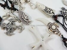 US Seller - 24 pieces hippie gothic rock necklaces with adjustable black cord