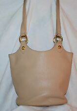 Vintage Paloma Picasso Leather Shoulderbag Purse Cream Pebbled Leather 80's