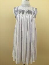 Free People White Purple High Lace Collar Babydoll Dress Small #2611