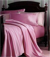4 Pieces New Soft Silk~Y Satin Lingerie Bed Sheets Set KING SIZE - PINK