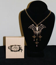 "Kirks Folly ""Bats in the Belfry"" GoldTone 16""-18"" Halloween Charm Necklace NIB"