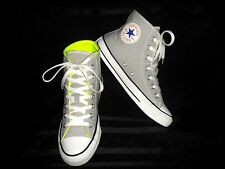 Converse All*Star Chuck Taylor High Top Gray Neon Green Sneakers Mens 6 -Wom 8