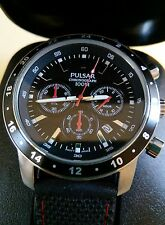 NEW EX DISPLAY PULSAR MENS CHRONOGRAPH BLACK RUBBER STRAP DATE DISPLAY RRP £119