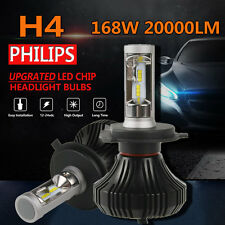 H4 HB2 9003 PHILIPS LED 168W 20000LM Headlight Beam Bulbs 6500K White High Power