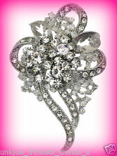 CRYSTAL RHINESTONE FLOWER HEART CORSAGE BROOCH PIN~MOTHERS DAY GIFT FOR MOM HER