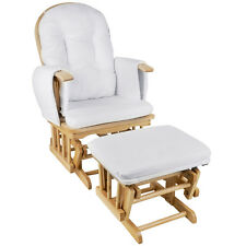 Wooden Glider Breast Feeding Sliding Rocking Chair With Ottoman Natural & White