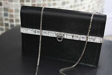 Salvatore Ferragamo Black Satin Chain Strap Crystal Accent Evening Clutch Bag