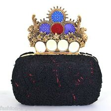 ALEXANDER McQUEEN STAINED GLASS EMBROIDERED KNUCKLE SKULL BOX CLUTCH BAG BNWT