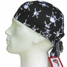 Bandana,Skulls,do du rag cap hat biker motorcycle cross bones black white fitted