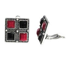 Red Black Beads Tribal Silver-Tone Clip On Unpierced Drop Earrings