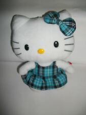 "10"" Ty Beanie Buddies Hello Kitty Blue Plaid Dress W/ Bow Plush Stuffed Animal"