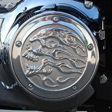 Flaming Skull derby cover in polished aluminum. Harley Twin Cam. DCFSP-1