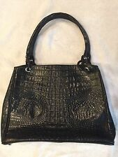 Authentic River Crocodile Skin Womens Hornback Tote W/Tuft Large Handbag Black