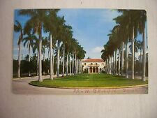 VINTAGE PHOTO POSTCARD THE LIBRARY FRAMED BY PALM TREES IN PALM BEACH, FLORIDA