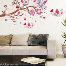 PINK FLOWERS TREE CHILDREN'S ROOM WALL ART STICKERS VINYL DECALS HOME DECORATION