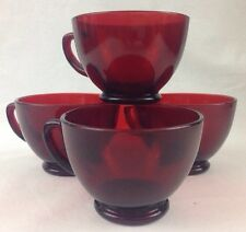 3 VTG Ruby Red Depression Glass Coffee Tea Cups