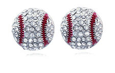 Clear Crystal Baseball Ball Sport Stud Earrings Gift for Baseball Girl e103