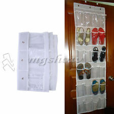 24 Pockets Clear Over Door Hanging Bag Shoe Rack Hanger Storage Holder Organizer