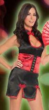 Brand New Sexy Cherry Blossom Costume Lingerie 3 PC  Dress Waist Cincher & Fan L