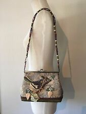 Vintage Mary Frances Handbag Beaded Bird Bag Brocade Fabric Beaded Shoulder Bag