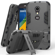 For Motorola Moto G2 Hybrid Rugged Impact Protective Hard Armor Case Stand Cover
