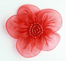"5 X Large Organza Flowers Sew On Appliques Size: 2""  Colour: Red   #2"