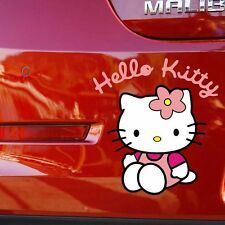 Hello Kitty Cat Flower Sitting Bumper Windows Random Body Wall Decal Car Sticker