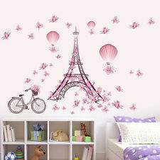 USA Removable Pink Flower Bicycle Eiffel Tower Wall Sticker Home Decor Mural Art