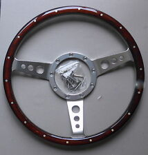 HILLMAN IMP CLASSIC WOODEN STEERING WHEEL 18 RIVETS & IMP BOSS