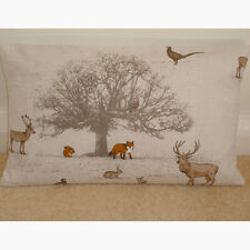 "20""x12"" Oblong Bolster Cushion Cover Fox Squirrel Stag Pheasants Owl Rabbit Tree"