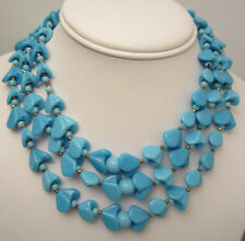 """Amazing Rare Vtg 15""""x1"""" Signed Miriam Haskell Turquoise Bead Glass Necklace A48"""