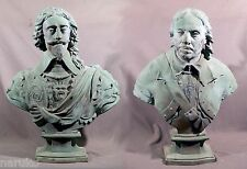 ANTIQUE BRONZE BUSTS OF CHARLES 1st & OLIVER CROMWELL AFTER EDWARD PEARCE LARGE