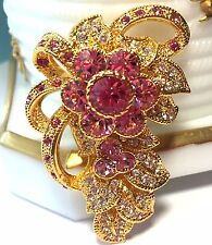 Jacqueline Bouvier Kennedy Pink Crystal Flower Brooch Pin Gold Tone Ivy Bow