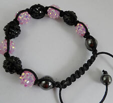 1pcs Disco Ball Hematit Resin Crystal Bead Braided Adjustable Bracelet 12mm