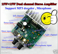 12V TDA7297 15W +15 W Stereo Aduio Amplifier Board MP3 Decoder / Microphone Amp