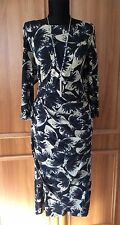 "New Phase Eight ""Bonnie Butterfly"" Navy/Stone Jersey Dress - Size 14"