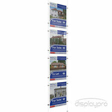 1x4 A4 Wire Cable Window Display Acrylic Poster Holder Shop Sign System Stand