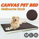 Brown Pet Bed Mattress Dog Cat Pad Mat Cushion Pillow Large Soft Canvas M L XL