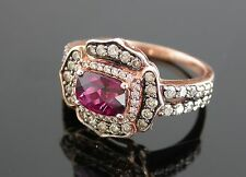 LEVIAN 1.25 CT  Rhodolite and Diamond Ring Set in 14k Pink Gold ~ 0262