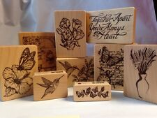 Inkadinkado Hummingbird Morning Glory Hibiscus Butterfly Tulip Rubber Stamp Lot