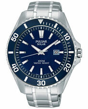 Men's Pulsar Solar Sport Stainless Steel Bracelet Blue Dial Watch 44mm PX3067