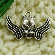 free ship 22 pieces tibetan silver skull pendant 40x26mm #2586