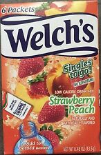 5 Boxes (30 Packets) Of WELCH'S STRAWBERRY PEACH SINGLES TO GO DRINK MIX Welchs